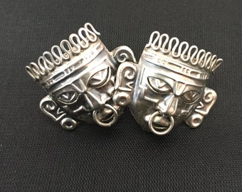 Vintage ethnic tribal mask sterling silver screw back earrings Mexico Mayan Aztec 1940's