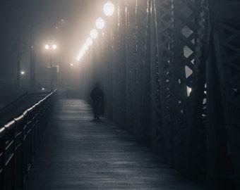 Portland Photograph / Broadway Bridge / Silhouette / Foggy Night / Fine Art