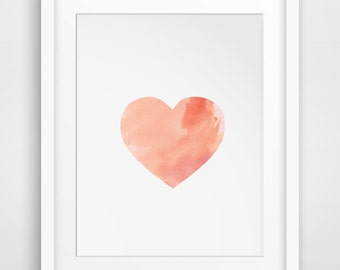 Watercolor Heart, Pink Watercolor, Pink Heart, Water Color Print, Watercolor Painting, Heart Watercolor, Water Color Prints, Art Heart