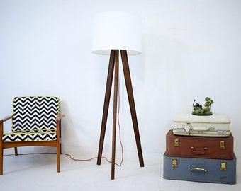tripod lamp modern floor lamp midcentury modern lamp walnut tripod floor lamp