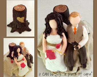 custom bride and groom wedding cake topper hand-made edible fondant