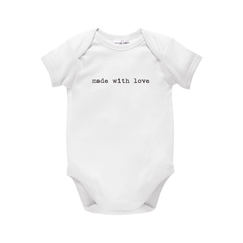 Made With Love Baby Bodysuit Minimalist Style Typewriter