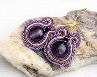 Small Purple Soutache Earrings-Round Beaded Earrings-Hand Made Boho Earrings Jewelry-Small Retro Earrings-Violet Hand Embroidery Earrings
