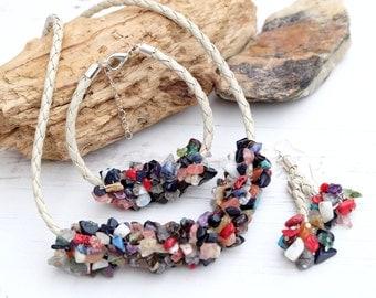 Gemstone Boho Hippie Necklace Bracelet Set-Crystal Necklace Bracelet-Rough Gemstone Necklace Bracelet-Chunky Bib Necklace -Multicolour