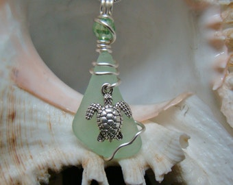 Sea Mist Green Sea Glass Necklace with Turtle