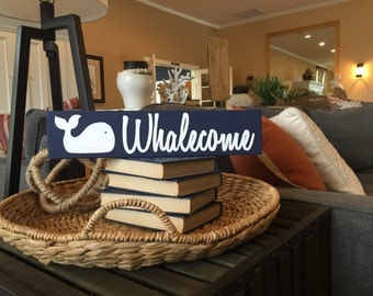 Custom Colors- Whalecome with Whale Wood Sign