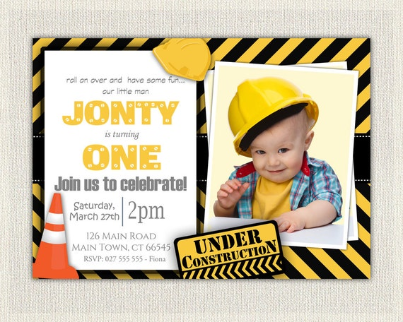 Construction Theme St Birthday Invitation Boys Yellow And Black - Digital first birthday invitation