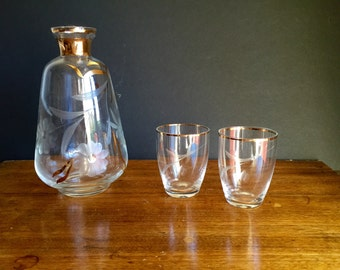 Mid Century Decanter and Cup Set / Midcentury Bar set/