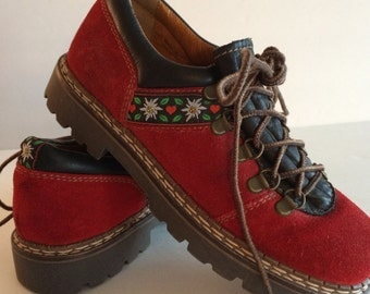 Vintage Hiking Boots Germany - Josef Seibel - Cherry Red Suede w Leather & Folk Trim - EU Size 36 - Germany - Amazing Mountain or City Boot