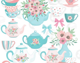 Tea Time Clipart, Teapot, Summer Time Tea Party Clipart, Floral Tea Time Clipart, Tea Time Roses Clipart for Scrapbooking, AMB-1356