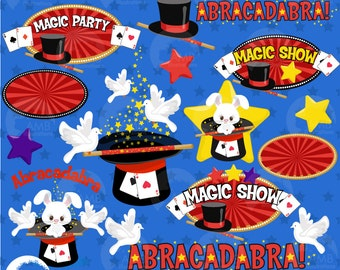Magic clipart, Magician Show clipart, Magic Embellishments, Magic Birthday party, Magic Hat Clipart, commercial use, AMB-1194