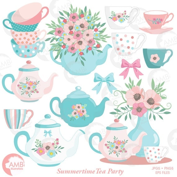 Tea Time Clipart, Teapot, Summer Time Tea Party Clipart, Floral ...