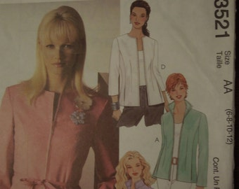 McCalls 3521, size 6-12, UNCUT sewing pattern, craft supplies, lined jacket and tie belt, misses, womens,