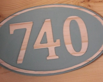 HOUSE NUMBERS Wood Carved House Oval Address Numeral Sign