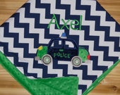 Police Car - Navy Chevron & Minky Baby Blanket with Embroidered Police Car