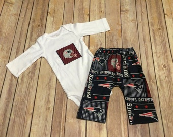 Handmade New England Patriots Cotton Baby or Toddler Pants & Matching Bodysuit Set