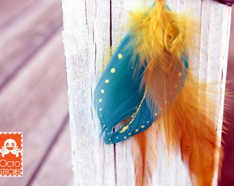Crimp on Hair Feather Accessory - Handmade hair feather extension - Yellow Roost and Teal painted feather
