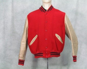 Vintage 1960s Lettermens Jacket Red Blue Size 42 Great Costume Theater