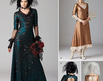 1772 Simplicity, Steampunk Costumes, Steampunk Bride with Veil, Bridal Gown, Gothic Bridal Gown, Cosplay, K Rescent Costume Design