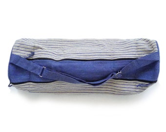 2-Zip Artisan Made - Hand Woven Yoga Mat Bag - White with Blue Stripes & Dots