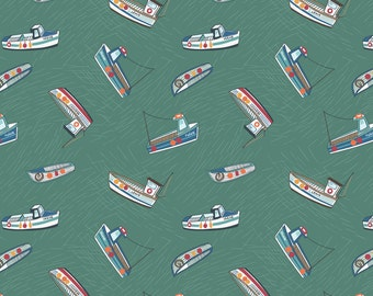Lewis & Irene Harbour Side Patchwork Quilting Fabric A178.2 - Fishing boats on sea green