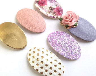 Spring Clips, Glitter Snap Clips, Leather Snap Clips, Lavender Clips, Snap Clips Set, Flower Clips,Pink Clips, Snap Clips, Oval Snap Clips