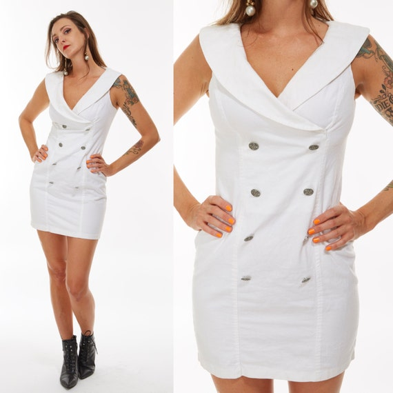 Vtg 80s 90s Fredricks of Hollywood WHITE MINI DRESS Cut Out Double Breasted Wiggle Bodycon Bandage Nautical Boho PinUp Grunge Retro Club Kid
