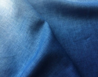 Ombre Indigo Linen Fabric, Hand Dyed Fabric