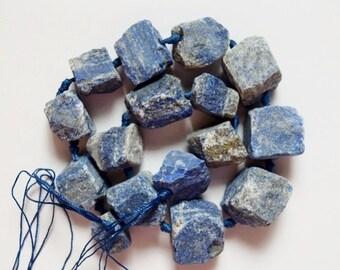 "Genuine Lapis Lazuli Rough Crystalline Nuggets - approx.25-18 x 22-20 mm Gemstone Beads - Strand 16"", 15 beads"