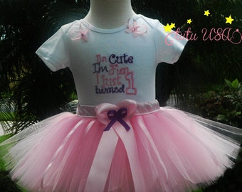 Baby Girl 1st Birthday Tutu Outfit, 1st Birthday Girl Outfit,Pink and Purple Baby Girl Tutu Outfit, One Year Ol, Birthday Outfit