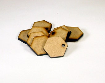 Laser Cut Unfinished Hexagon Wood Shapes Craft Suppies