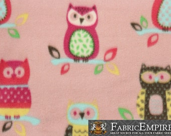 "Fleece Printed Fabric COUPLE OWLS PINK / 58"" Wide / Sold by the yard / N-1991"