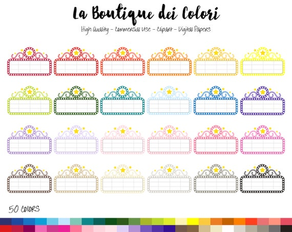 50 Rainbow Movie Marquee Clipart Cute Digital Graphics PNG Theater