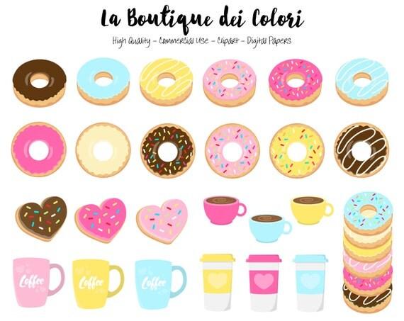 60 Doughnut Clipart Cute Digital Illustrations Png Donuts