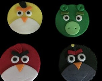 Fondant Angry Birds Toppers (1 dozen)