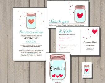 PDF, Rustic wedding Invitations mason jar, rustic cards with mason jar, unique save the dates invitations, wedding shower invitation