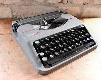 Working typewriter Hermes Baby, 50s typewriter, mid century office, grey, red