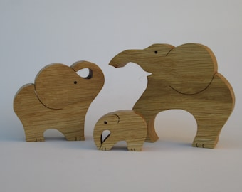 Wooden Elephants Family  - Oak -  Elephants - Scroll saw cut.