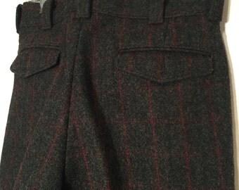 Vintage L.L. Bean Lumberjack Wool Pants Small S Windowpane Plaid Gray Maroon Dark Teal Waist 31 Inseam 31
