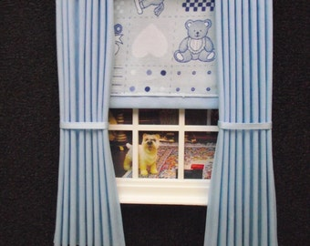 Miniature doll house  curtains drapes with pelmet  and blind blue nursery print  blind 4 3/4 in x 7 1/2in long