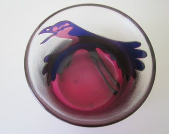 Vintage Kosta Art Glass Bowl with Bird, Signed By Paul Hoff
