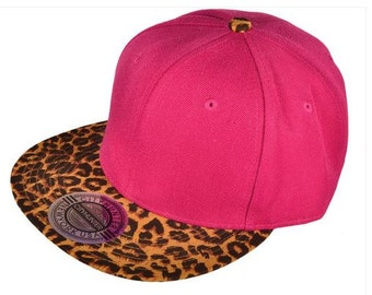 Pink  and Leopard Embroidered Cap