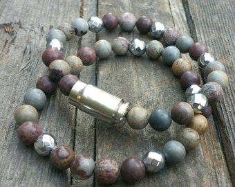 Beaded Bullet Bracelet / Stretch Gemstone Bracelet / Bullet Bracelet / Beaded Bracelet / Stack Bracelet / Bullet Jewelry / Gemstone Bracelet