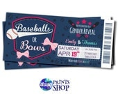 Baby gender reveal - Baseballs or Bows - Gender Reveal Idea - baseball shower - baseball gender