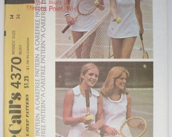 McCall's 4370 Tennis Dress Sewing Pattern Misses Size 14 Uncut