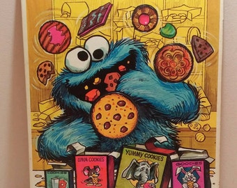 1972 Cookie Monster puzzle Sesame Street Whitman frame tray puzzle