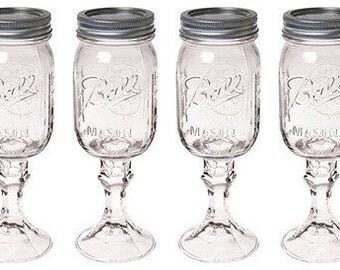 Mason Jar Wine Glasses - Set of Two