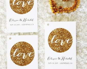 "Personalized 24  gold glitter ""Love"" Circle Favor Thank you Tag Wedding Bridal Shower birthday baby shower party celebration"