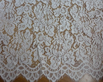 Off white Embroidered Corded Bridal Lace Fabric for Bridal dress, Wedding ceremony gown, Costumes