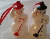 Vintage 1950s Rosbro Red Hat Snowman, Black Hat Snowman with Broom Christmas Ornaments